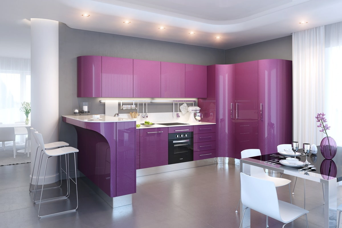 красивая фиолетовая кухня фото постепенно вытесняет